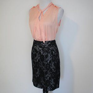 THE LIMITED Size 2 Skirt Blouse Set Black Peach